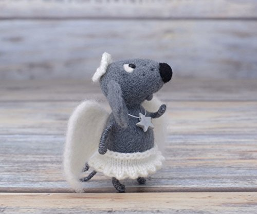 Grey Angel Mouse Needle Felting Mice Felted Animal Wool Rat Soft Sculpture Fiber Art - Needle Felted Mouse