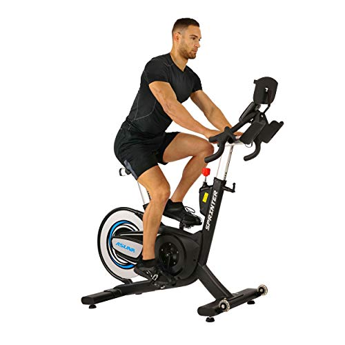 Sunny Health & Fitness Asuna 6100 Sprinter Cycle Exercise Bike - Magnetic Belt Rear Drive, 350 LB Max Weight, Wireless Heart Rate Belt with RPM Cadence Sensor and SPD Style Pedals