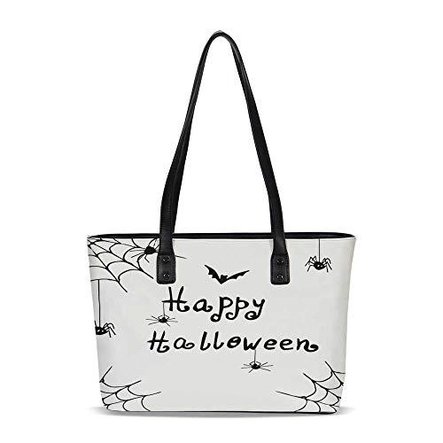 Spider Web PU Shoulder Tote Bag,Happy Halloween Celebration Monochrome Hand Dra]()