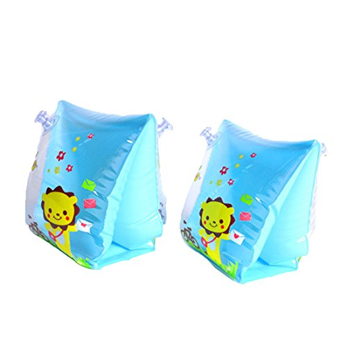 Gymforward Inflatable Baby Swim Arm Bands Children Begin to Swim Arm Rings with Cute Animals Print (Blue)
