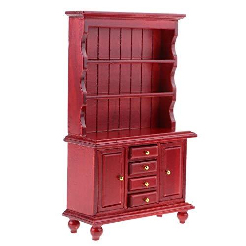 NATFUR 1/12 Wood Bookshelf Display Cabinet for Dolls House Living Room Kitchen Red