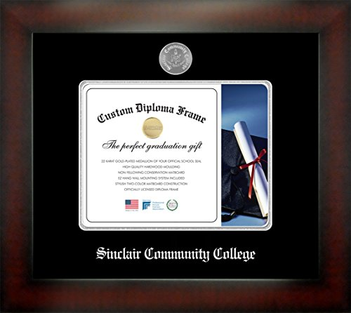 Sinclair Community College 7 x 9 Mahogany Finish Infinity Diploma Frame by Celebration Frames by Celebration Frames