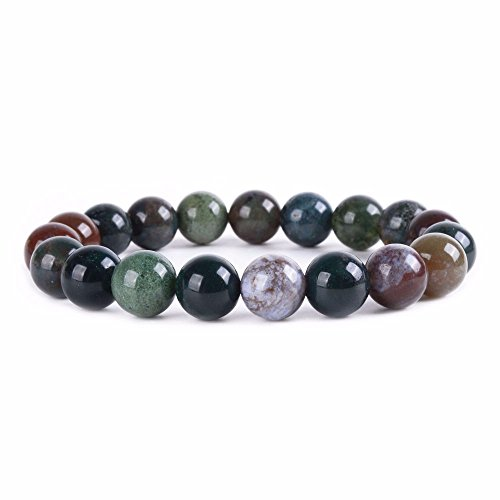 (Natural Multi-color Indian Agate Gemstone 10mm Round Beads Stretch Bracelet 6.5