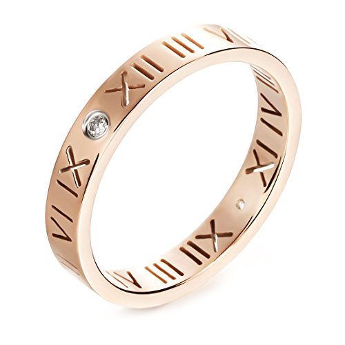 JSEA Womens Stainless Steel Cz Roman Numeral Rings Bands Openwork Rose ()