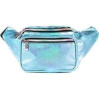 SoJourner Holographic Rave Fanny Pack - Packs for festival women, men   Cute Fashion Waist Bag Belt Bags (Light Blue Glitter)