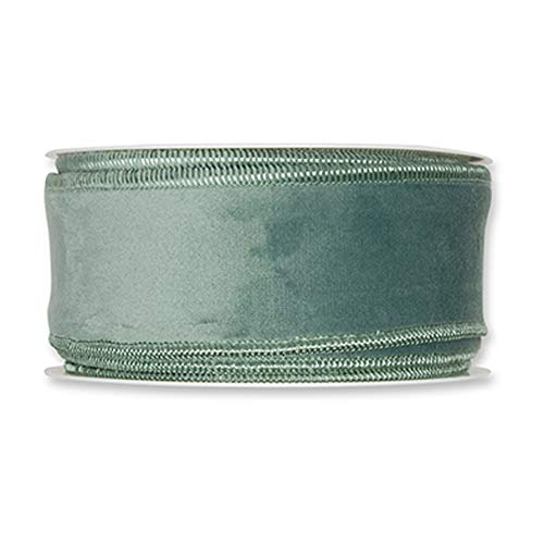 - FloristryWarehouse Sage Green Christmas Velvet Fabric Ribbon 2 inches Wide on 9 Yards roll. Wired Edge