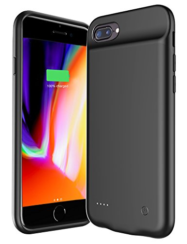 Pumier iPhone Battery Case for iPhone 8 Plus/7 Plus/6 Plus/6s Plus with Lightning Port,Ultra Slim Protective iPhone Charging Battery Pack Case with Magnetic Stand Function(Black) …