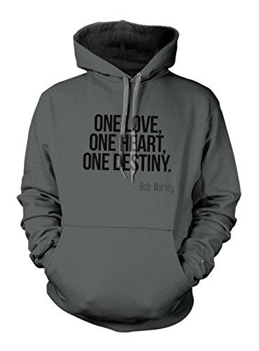 One Love One Heart One Destiny Bob Marley Quote Hoodie Sweatshirt Slate Grey X-Large
