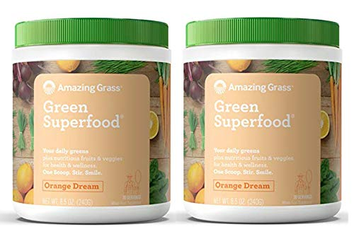 Amazing Grass Green Superfood Organic Powder with Wheat Grass and Greens, Flavor: Orange Dream, 30 Servings (2 Pack - 60 Servings)