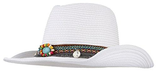 (Women Men Cowboy Floppy Sun Hat Straw Summer Beach Cap Wide Brim Panama Hats (White#2))