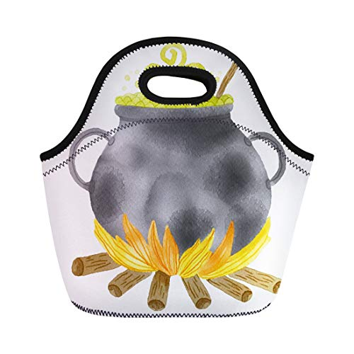 Semtomn Neoprene Lunch Tote Bag Green Autumn Watercolor Witch Cauldron Potion Halloween Black Boiler Reusable Cooler Bags Insulated Thermal Picnic Handbag for Travel,School,Outdoors,Work