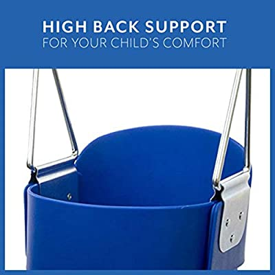 Squirrel Products High Back Full Bucket Toddler Swing Seat with Plastic Coated Chains and Carabiners for Easy Install - Blue: Sports & Outdoors