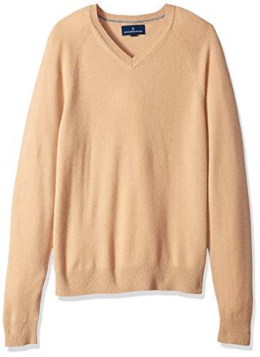 BUTTONED DOWN Men's 100% Premium Cashmere V-Neck Sweater, Camel, X-Small