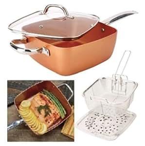 Amazon Com Copper Square Pan Deep Square Frying Pan Lid