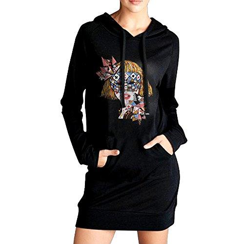 [VHF Women's Poke Face Sweatshirt Pockets Hoodie Dress Black Size XL] (Im The Pope Costume)