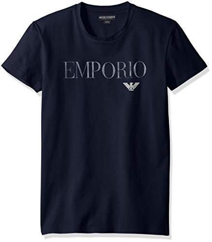 Emporio Armani Men's Mega Logo Crew Neck T-Shirt, Marine, - Summer Armani