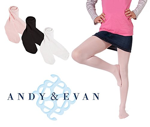 (Andy & Evan Girls Microfiber Tights 3-Pack Multi Color (White, Black, Pink) 4 to 6)