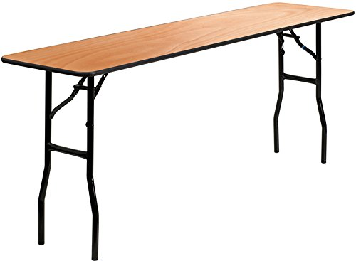 (Flash Furniture 18'' x 72'' Rectangular Wood Folding Training / Seminar Table with Smooth Clear Coated Finished)