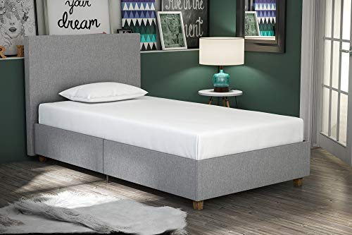 DHP Alexander Upholstered Platform Bed with Wooden Slats Support, Light Grey Linen – Twin Size