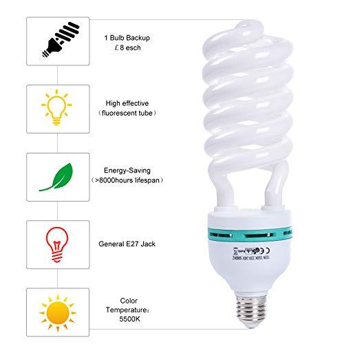 MOUNTDOG 135W Photography Softbox Light Bulbs 5500K Full SpectrumCFL Daylight for Photo Video Studio Lighting-Pure White