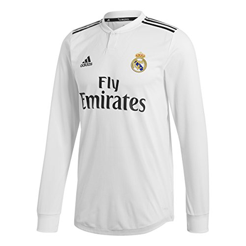 adidas 2018-2019 Real Madrid Home Authentic Long Sleeve Jersey (Core White) (M) (Jersey Authentic Home)