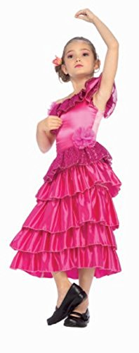 Little Girls' Pink Spanish Princess Costume Small (Girls Spanish Flamenco Dancer Costume)