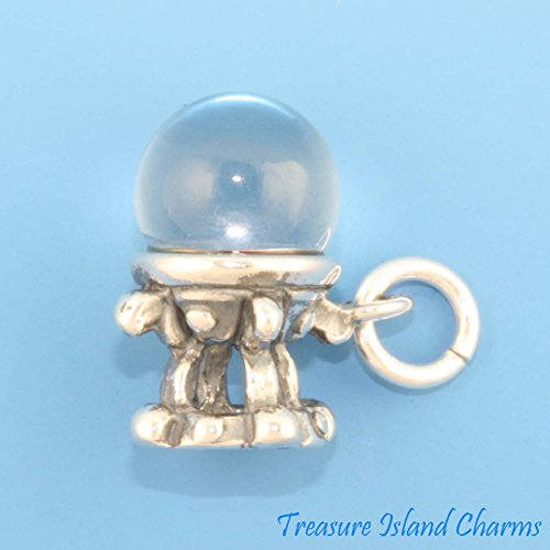 CRYSTAL BALL PSYCHIC FORTUNE TELLER 3D .925 Sterling Silver Charm MADE IN USA Jewelry Making Supply Pendant Bracelet DIY Crafting by Wholesale Charms (Jewelry Silver Bracelet Sterling 725)