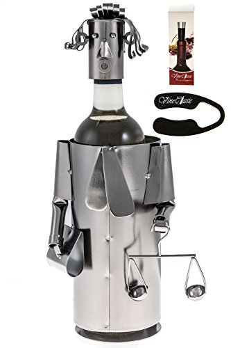 Fabulous Lawyer , Judge (Has a Beautiful Hair Style ,Necktie , Holding a Libra Scale and a Folder)metal Wine Bottle Holder Plus a Wine Foil Cutter and a Wine Vacuum Stopper (Bottle Wine Holders Metal)