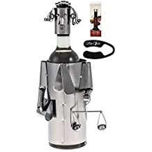 Fabulous Lawyer , Judge (Has a Beautiful Hair Style ,Necktie , Holding a Libra Scale and a Folder)metal Wine Bottle Holder Plus a Wine Foil Cutter and a Wine Vacuum Stopper