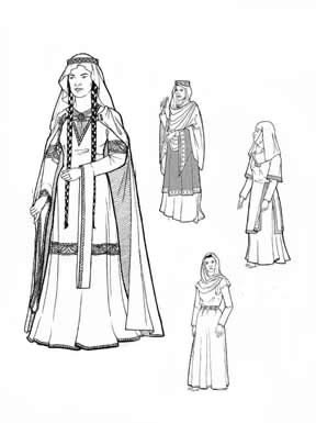 - Women of Medieval Romanesque Period Years 1060 to 1150 Pattern