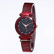 yiji Watch Female Starry Sky Quartz Watch Iron Mesh Belt Watch Starry Surface Roman Scale Ladies Watch New Year's Gift Girlfr