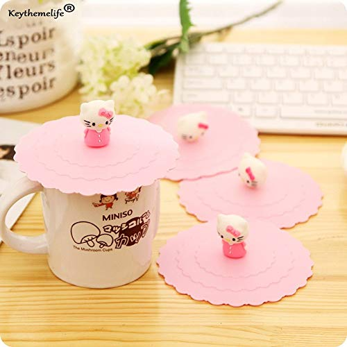 ccessories - 1pc Cartoon Anti Dust Silicone Glass Cup Cover Coffee Mug Lovely Hello Kitty Suction Seal Lid 2c - Size Holder Food Cake Bowls Spill Knob Organizer Cover Gla ()