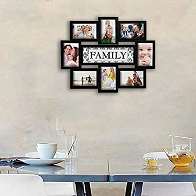 """Hello Laura - Photo Frame Reunion 8 Opening 17"""" x 22"""" Wall Hanging Photo Frame Family Theme 6"""" x 4"""" Photo Sockets x 8 - Black Edge 
