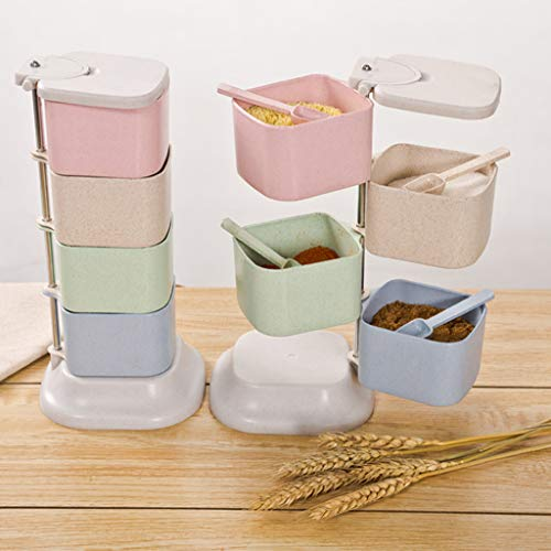 -  AIUSD Clearance , Creative Kitchen Spice Jar Four Layers Rotate Up And Down Seasoning Box