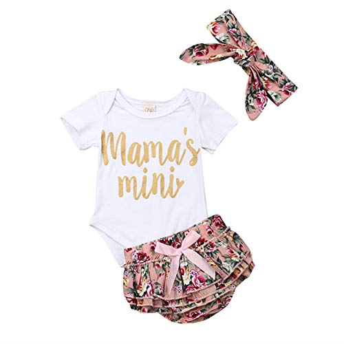 3Pcs Newborn Baby Girls Clothes Mamas Mini Romper Bodysuits+Ruffled Bloomers Shorts Outfit Sets+Headband (Pink, 12-18 Months) ()