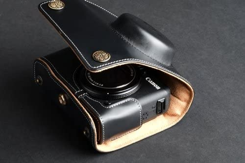 Handmade Genuine real Leather Full Camera Case bag cover for CANON G15 Black Color