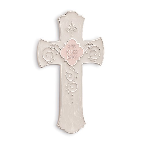 Nat and Jules Pink God Bless Baby Hanging Cross (Cross Baby Bless God)