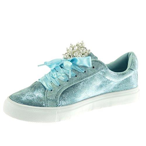 Tacn Tennis Codones Deportivos Taln Plano Saten Moda Azul Cm 2 Perla De Joyas Zapatillas 5 Angkorly Mujer YqxCntPTwY