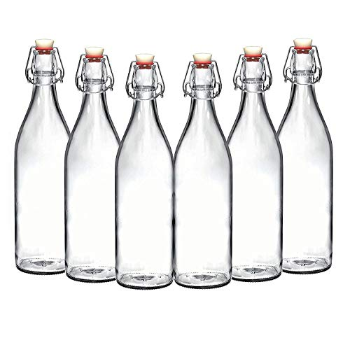 (Set of 6-33.75 Oz Giara Glass Bottle with Stopper Caps, Carafe Swing Top Bottles with Airtight Lids for Oil, Vinegar, Beverages, Liquor, Beer, Water, Kombucha, Kefir, Soda, By California Home Goods)