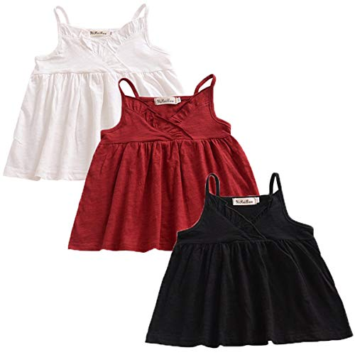 YAKETERA 3 Pack of Baby Toddle Infant Girls Cotton Linen Blend Tank Tops T Shirts Blouse Tag 120