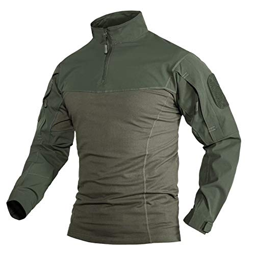 MAGCOMSEN Men's 1/4 Zip Front Tactical Military Shirts with Zipper Pockets Loop Shoulder Patches