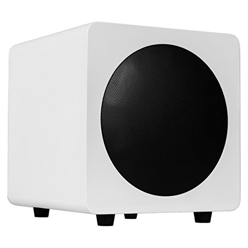 "Kanto sub8 Powered Subwoofer – 8"" Paper Cone Driver — Powerful Bass Extension – Gloss (Cone Subwoofer Driver)"