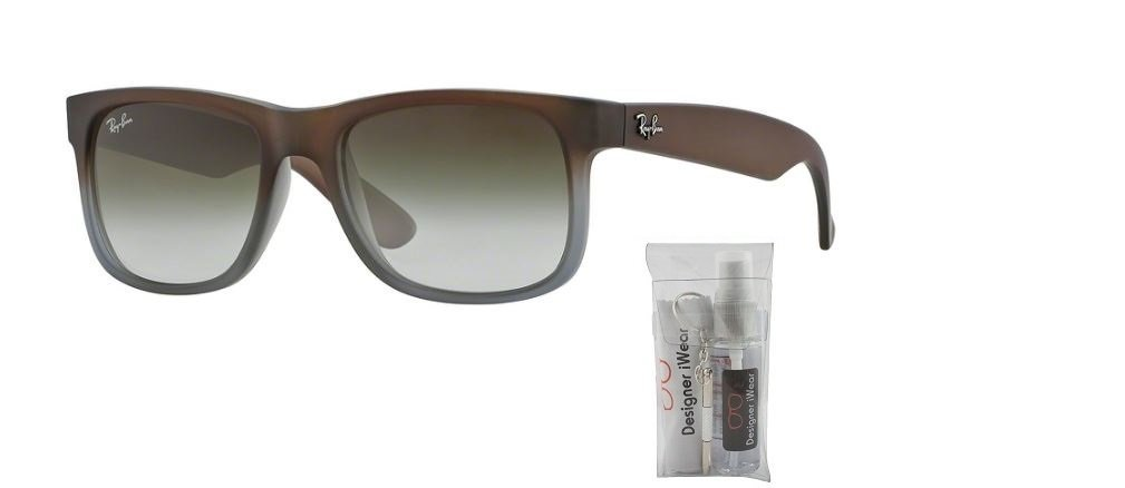 a1817354e54fe Rayban Sunglasses Justin RB4165 854 7Z RUBBER BROWN ON GREY GREEN GRADIENT   Amazon.co.uk  Books