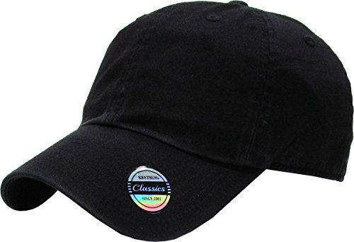 KBE-CLASSIC BLK Classic Washed Cotton Dad Hat Baseball Cap Polo Style
