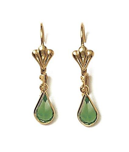 Boucles d'Oreilles Plaqué Or Dormeuses Pendantes Baroque - Cristal Vert