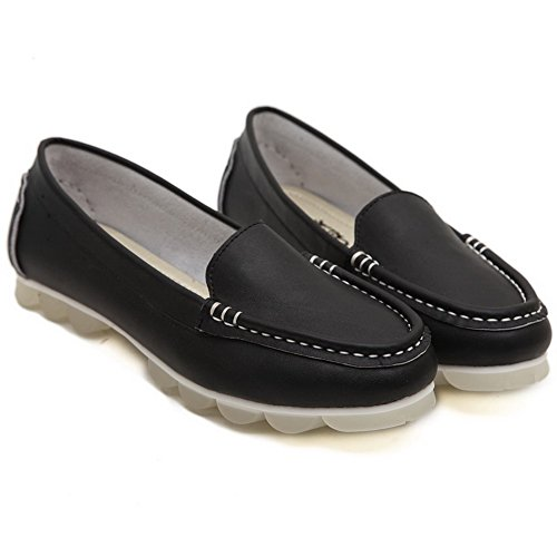 Aalardom Mujeres Round-toe Sin Tacón Helada Sólido Pull-on Flats-Zapatos Black