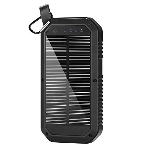 Ayyie Solar Charger Portable Charger Power Bank with 3-USB Outports & 21 LED Flashlights, 8000mAh Backup Battery Pack Phone Charger for Camping, Outdoor, Outside Activities