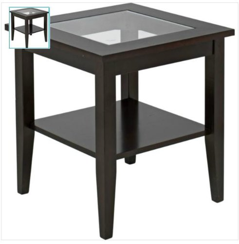 Ashcroft dark wood veneer end table with glass amazon ashcroft dark wood veneer end table with glass amazon kitchen home aloadofball Choice Image