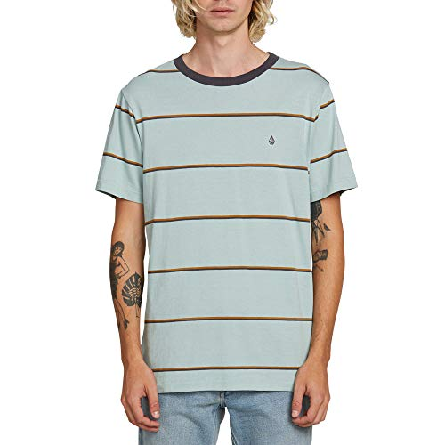 Volcom Men's Shaneo Striped Crew Neck Short Sleeve Shirt, sea Glass, Large