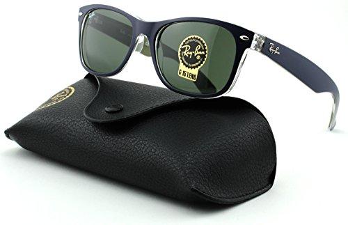 Ray-Ban RB2132 New Wayfarer Unisex Sunglasses (Matte Blue Military Green Frame/Green Lens 6188, 55) (6188 Sunglasses)